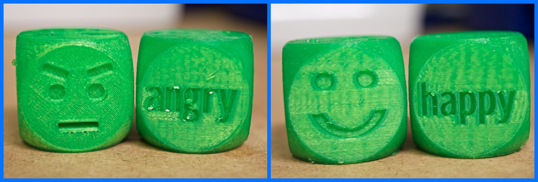 3D Printed Social Skills Emotions Dice pair