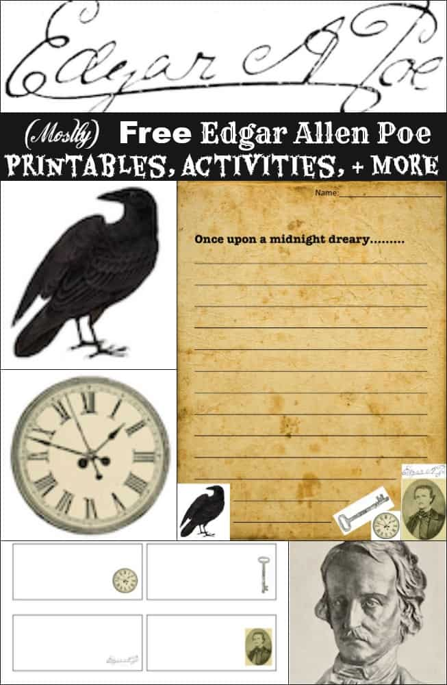 (Mostly) Free Edgar Allen Poe Printables, Activities, and Gifts
