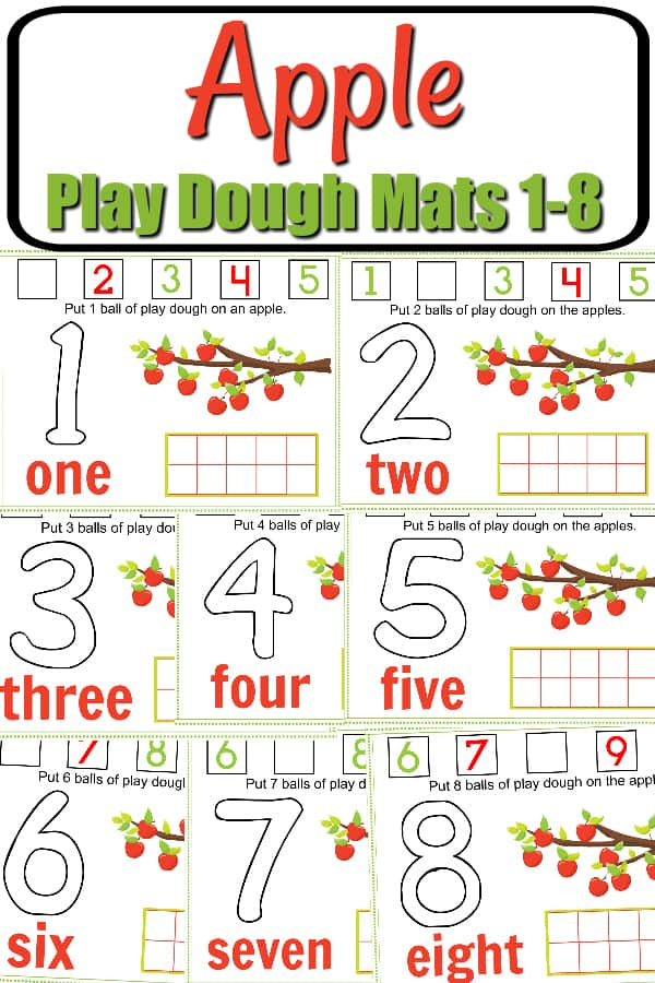 Free Printable Fall Apple Tree Numbers Play Dough Mats